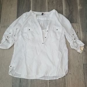 Half button blouse with attached camisole, NWT